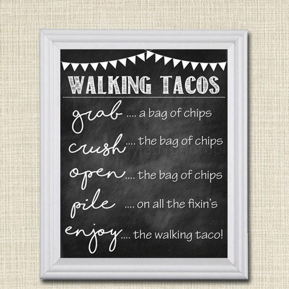 Walking Tacos Sign Walking Taco Bar DIY Taco Bar Make Your