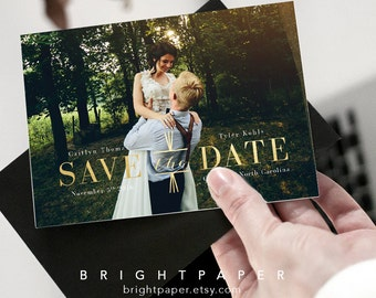 Modern Save-The-Date Invitation Faux Gold Engagement Invite Announcement Card Save-The-Dates Postcard Digital Printable File STD022