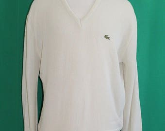 Vintage 70s Men's Lacoste Izod Creamy Ivory Acrylic Knit Pullover Sweater  XL