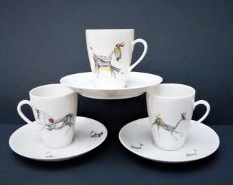 Mosa cups with saucers in model 3111L - Bull, horse and deer