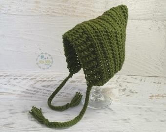 Green Vintage Hand Crochet Knitted Newborn Baby Pixie Bonnet Beanie Hat Photo Prop