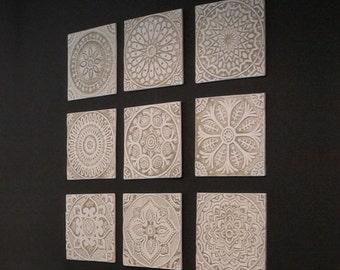 wall decor tiles. 9 tiles  Outdoor wall art with ethnic designs garden decor Ceramic Garden Set of ceramic