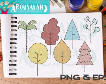 Doodle Trees Clip art Vector Hand drawn Icon Instant download Commercial EPS PNG