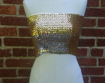 Vintage Gold Sequin Tube Top // Added Extras New York // One Size Fits Most