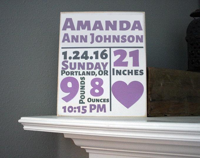 "12x14"" Birth Stats Wood Sign - Great Gift Idea - Room Decor - Nursery Decor - Birthday - New Baby - Home - Home Decor - Love - Family"