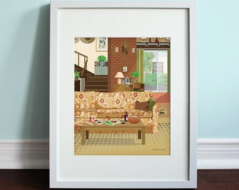 The Bundys Living Room - Married... with Children, Al Bundy Art Print, Married with Children, TV Sitcom