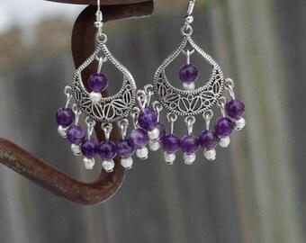 Amethyst Earrings ~ Purple Chandelier Earrings ~ Tibetan Silver ~ Statement Jewellery ~ Healing Crystals ~ Meditation ~ Semi Precious Stones