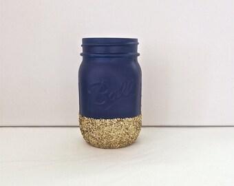 Navy + Gold Glitter Mason Jar