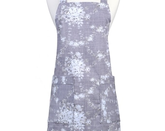 Japanese Crossback Apron Linen Canvas Violet Gray and Ivory Retro Floral Print - Womens Vintage Style Crossover Pinafore Kitchen Apron