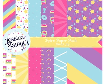 INSTANT DOWNLOAD, 80s digital papers or retro backgrounds