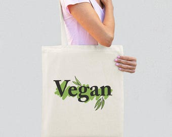 Vegan tote bag-vegetarian tote bag-gift for vegan-cool tote bag-graphic tote-women tote-shopping tote-grocery tote-by GLAMOUR TOTE-GT43