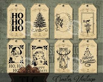Set of Vintage Printable Christmas Tags