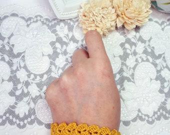 Mustard Crochet Bracelet, OOAK Fabric Bracelet, Modern Jewelry, Fiber Art Bracelet, Mustard Jewelry, Adjustable Bracelet, Knitted Jewelry