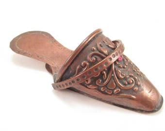 Antique Copper Shoe Spill Match Holder, Victorian Repousse Wall Pocket, Handmade Hammered Slipper