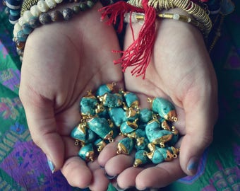TURQUOISE NUGGETS ///  24kt Gold Plated Pendant
