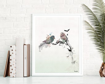 Birds Print of Watercolor Bird Painting, Watercolor Art, Bird Decor, Bird Wall Art, Watercolor Painting, Watercolor Print, Bird Art Prints