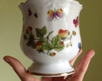 "vintage 1940's porcelain 4"" planter/vase -- Lenwile - Ardalt gilded strawberries & butterflies"