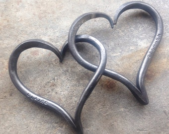 6th Wedding Anniversary Gift, Iron Anniversary, Pair of Interlinked Iron Hearts Personalized, His and Hers Hearts