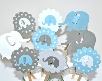 12 Elephant Cupcake Toppers / Elephant Baby Shower / Elephant Birthday Party / Elephant Cupcake Toppers / Boy Baby Shower / Elephant Party