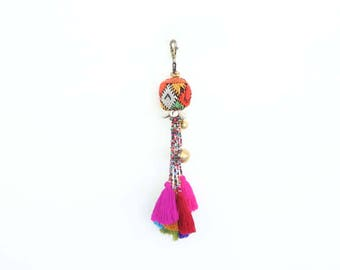 Vintage Keychain With Colorful Bead Tassels Handmade Accessories