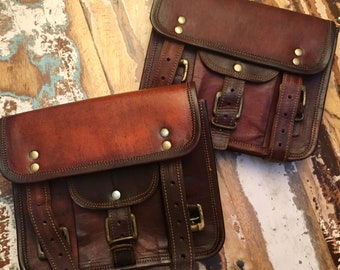SATCHEL SET of TWO // 7x9 ... Handmade Reclaimed  Leather Crossbody Messenger with Adjustable Strap, Canvas Lining, Zipper + Buckle Closures