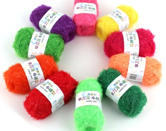 10 Skeins Scrubber Yarn Assorted Colors - 100% Polyester, Rainbow Scrubbies 40g x 10 = 400g Total, Eyelash Yarn, 10 Colors