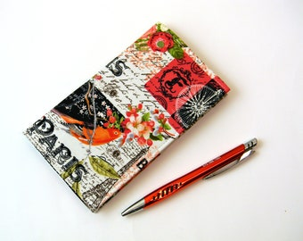 French Collage Fabric Checkbook Cover Duplicate Checkbook Case with Pen Holder  Paris Eiffel Tower Themed Fabric Checkbook Register OOAK
