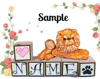 Red Chow dog PERSONALIZED with your dog's name on blocks by Sally's Bits of Clay