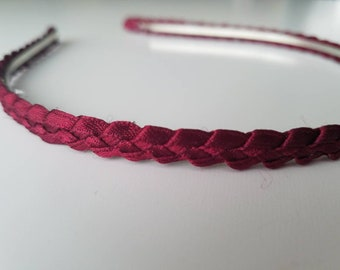 Braided ribbon headband. Metal headband. Burgundy.