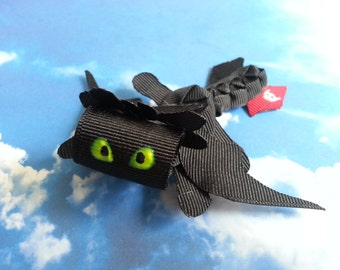 Toothless Dragon Inspired Ribbon Sculpture Clip /Pin-- How to train Your Dragon Hair Bow Clip