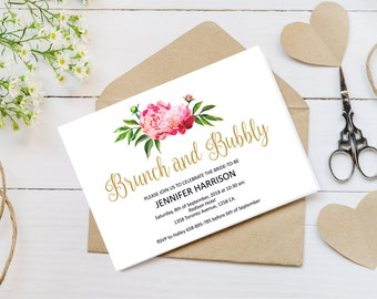 Floral Bridal Shower Invitation Template, Peony Bridal Shower Invite Printable, Digital PDF, Boho Bridal Shower Card