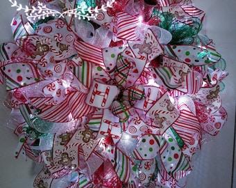 Lighted Christmas wreath - Outdoor wreath for front door - Christmas wreath for front door - Christmas wreath with lights- Christmas in July & Lighted Christmas wreath Mesh Christmas wreath Front door