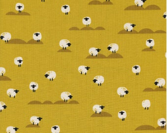 NEW!! Cotton+Steel Panorama - Sheep - Mustard Unbleached Cotton Fabric