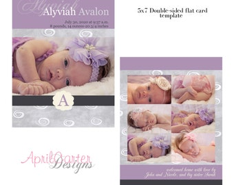 Baby Girl Purple/Grey-Birth Announcement, 5x7 digital card template