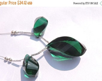 25% OFF Summer Sale 3 Pcs Set AAA Teal Green Quartz Faceted Twisted Long Drops Briolette Size 26*15 - 19*10 MM