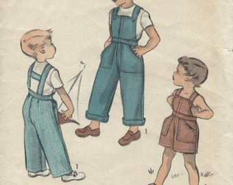 Advance 5631 UNCUT 1950 boys overalls sewing pattern
