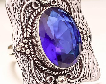 Blue Sapphire Sterling Silver Vintage Style Ring