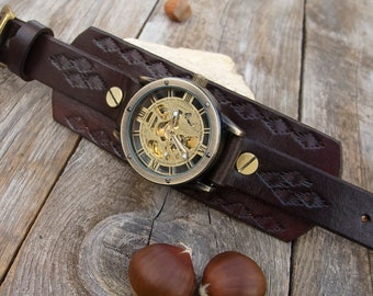 Mens Steampunk watch, Chocolate brown Leather cuff watch, Skeleton wrist watch, Steampunk  Bronze Skeleton Automatic Mechanical Men's  Watch