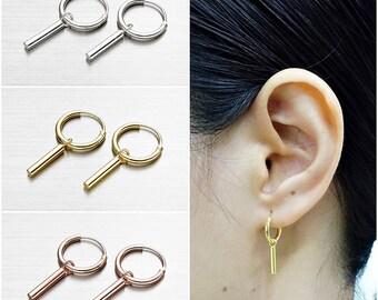 925 Sterling Silver Earrings, Bar Earrings, Gold Plated Earrings, Rose Gold Plated, Hoop Earrings (Code : EY52A)
