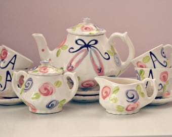 Ballet Slippers Little Girls Tea Party China Child's Tea Set, Handpainted, Custom, Personalized
