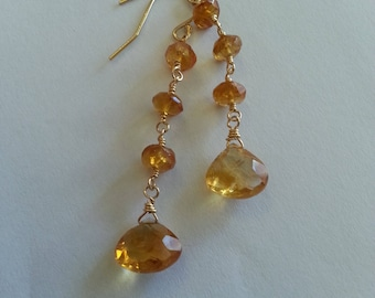Drop earrings with yellow citrine, yellow gold-filled