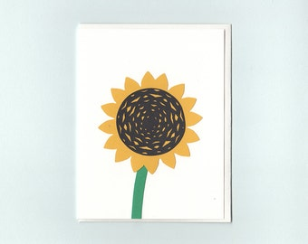 Sunflower greeting card - papercut collage card by Dmitry Gimon