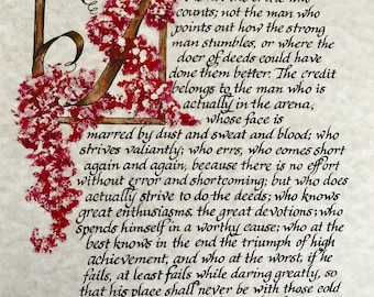 Print of Original/The Man in the Arena/Theodore Roosevelt, Red, calligraphy, Print of original hand done lettering/Paper Only