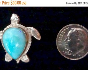 "MEMORIAL DAY SALE Awesome Genuine Dominican Larimar ""Sea Turtle"" Pendant Handmade Sterling Silver Setting Free Shipping"