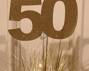 Gold glitter number 50 party decor