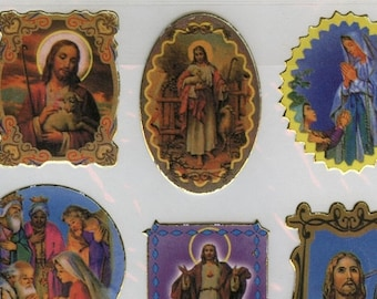 1 Sheet 38 Jesus & Mary (+ Other Saints) STICKERS in Various Shaped Die Cut Motifs - Blessed Mother - Die Cut     (V-F)