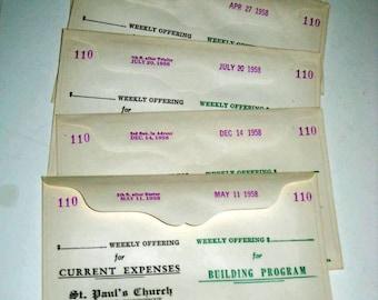 5 Vintage (1950s)  Church Collection Envelopes