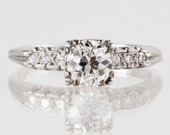 Antique Engagement Ring - Antique 1930s Platinum Diamond Engagement Ring