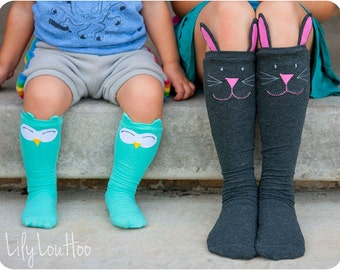 Cozy Critter Socks PDF Sewing Pattern: Kids socks sewing pattern, knee high socks sewing pattern