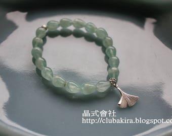 Minty - Green fluorite gingko leaf bracelet